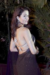 Indian actress Amrita Arora in black transparent sari - x2 HQ